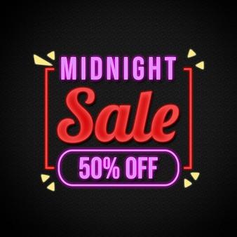 Banner de venda da meia-noite estilo neon