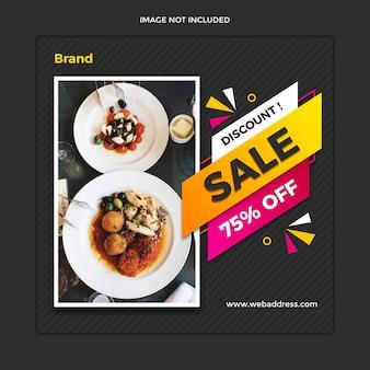 Banner de venda de comida moderna e design de modelo de post quadrado do instagram