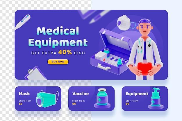 Banner de venda de equipamentos médicos com renderização em 3d