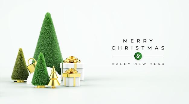 Banner de venda de feliz natal com objetos 3d