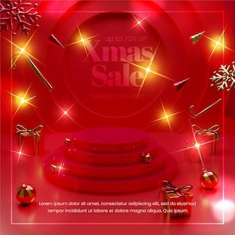 Banner de venda de feliz natal moderno com composição realista de objetos de natal 3d