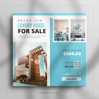 Banner de venda de mídia social quadrado de propriedade de casa imobiliária minimalista para história do instagram com uma maquete limpa