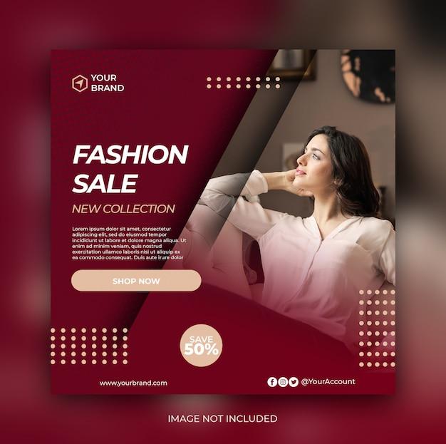 Banner de venda de moda ou folheto quadrado para mídia social postar modelo