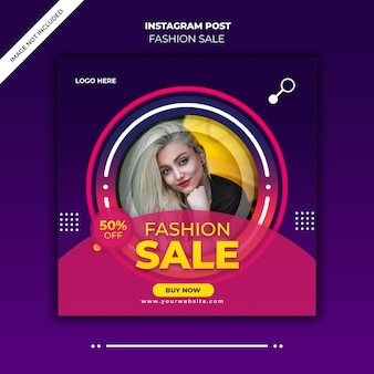 Banner de venda de moda ou folheto quadrado para publicação de mídia social
