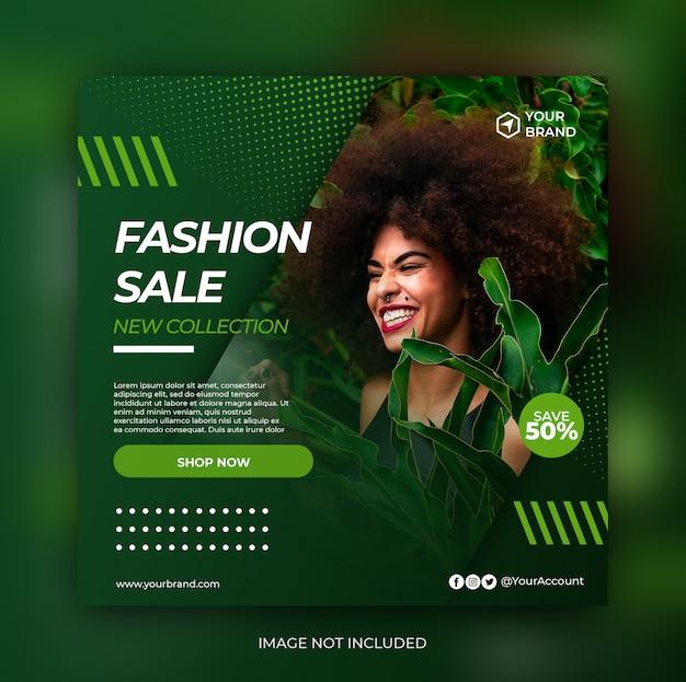 Banner de venda de moda verde ou folheto quadrado para mídia social postar modelo