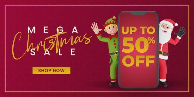 Banner de venda de natal com renderização em 3d de papai noel e elfo atrás de um grande smartphone