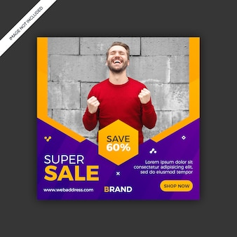 Banner de venda de post de mídia social moderna dinâmica