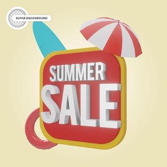 Banner de venda de verão 3d render