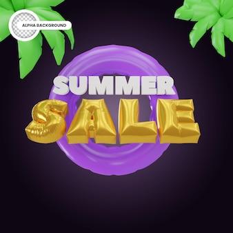 Banner de venda de verão estilo balão renderização 3d