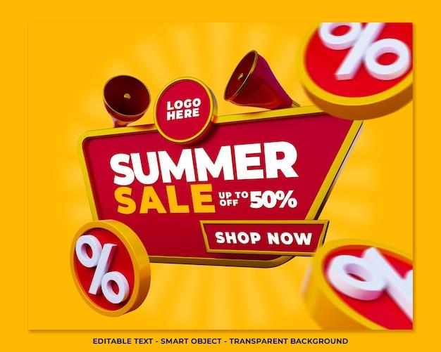 Banner de venda de verão postagem em mídia social de promoção em 3d