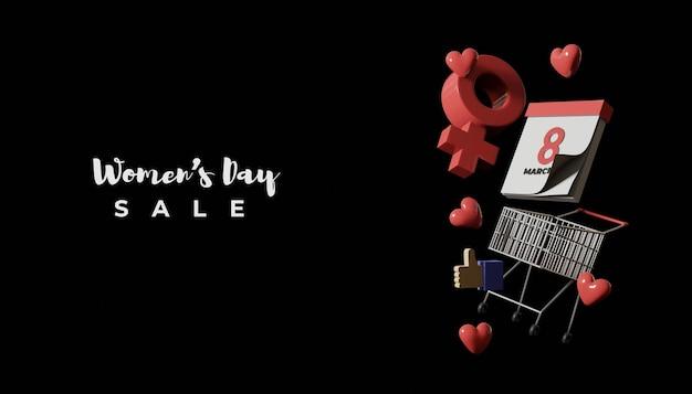 Banner de venda do dia da mulher com renderização 3d com calendário e símbolo feminino