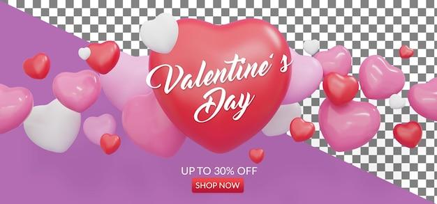 Banner de venda do dia dos namorados com objeto de renderização 3d