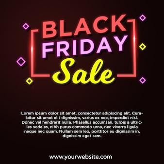 Banner de venda sexta-feira negra em estilo neon
