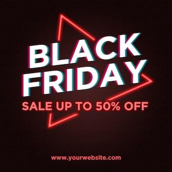 Banner de venda sexta-feira negra no estilo de néon e falha