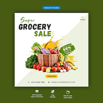 Banner de venda super supermercado
