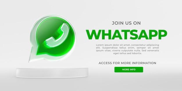 Banner de vidro acrílico do whatsapp com renderização 3d transparente