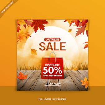 Banner de web de venda outono