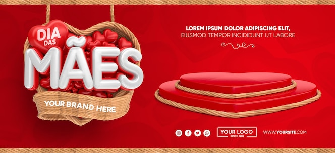 Banner dia das mães no brasil 3d render template design heart basket