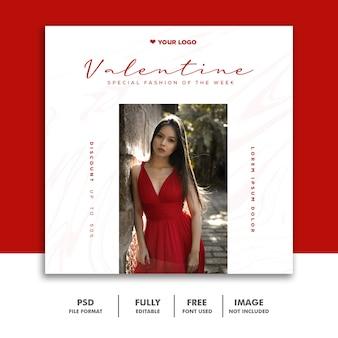 Banner dia dos namorados post mídia social instagram moda vermelho