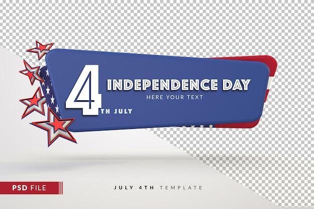 Banner do dia da independência com espaço de cópia para 4 de julho