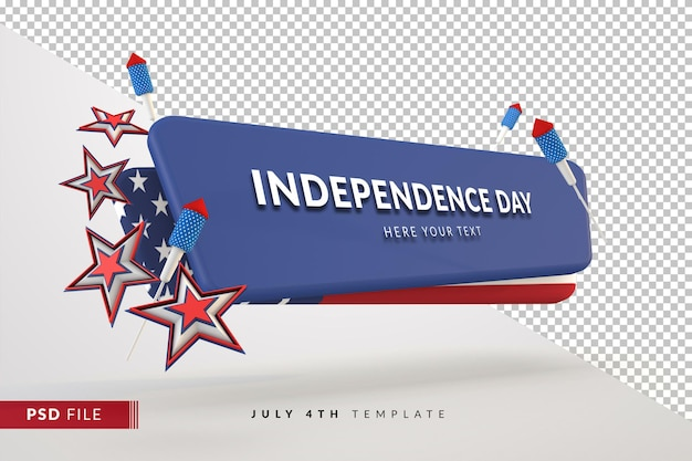 Banner do dia da independência em 3d para 4 de julho com