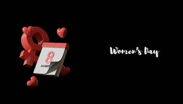 Banner do dia da mulher com renderização em 3d com calendário e símbolo feminino