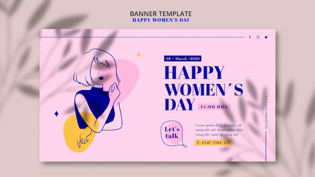 Banner do dia da mulher feliz