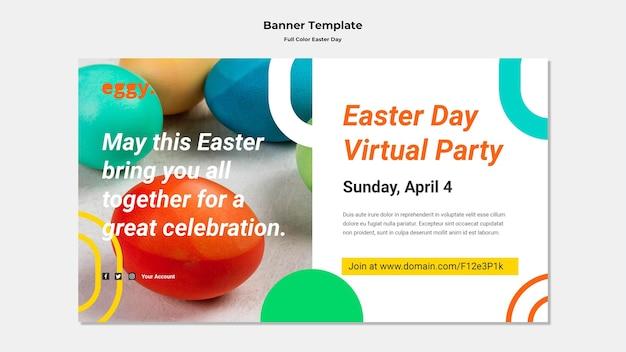 Banner do dia da páscoa com detalhes coloridos