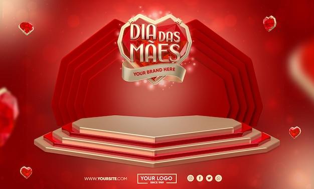Banner do dia das mães no brasil renderização em 3d com design de modelo de coração de diamante
