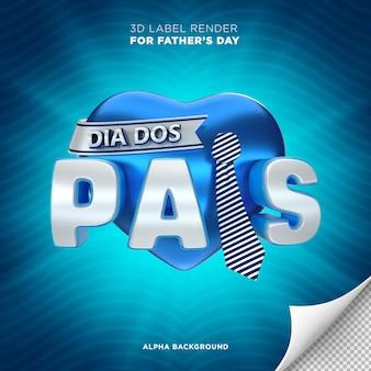 Banner do dia dos pais no brasil 3d render design coração