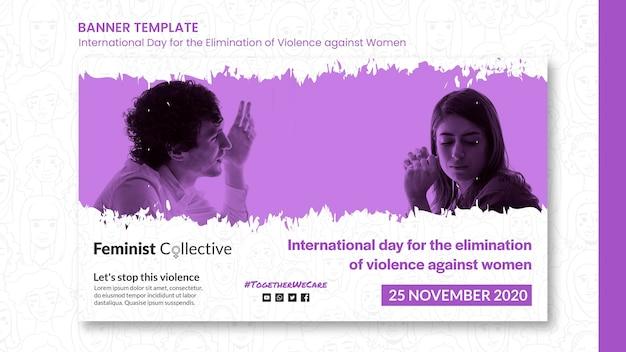 Banner do dia internacional pela eliminação da violência contra as mulheres