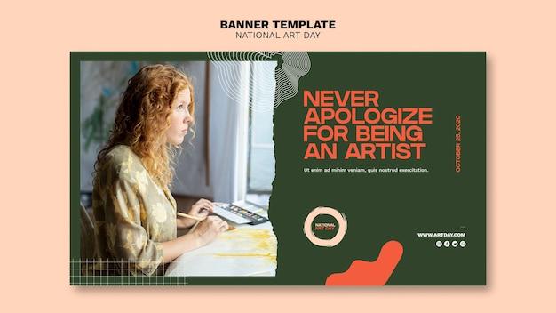 Banner do dia nacional de arte com foto