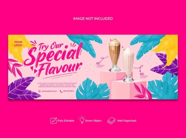 Banner do facebook do menu especial de suco desenhado à mão