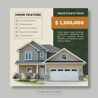 Banner do modelo de postagem do instagram para casa à venda