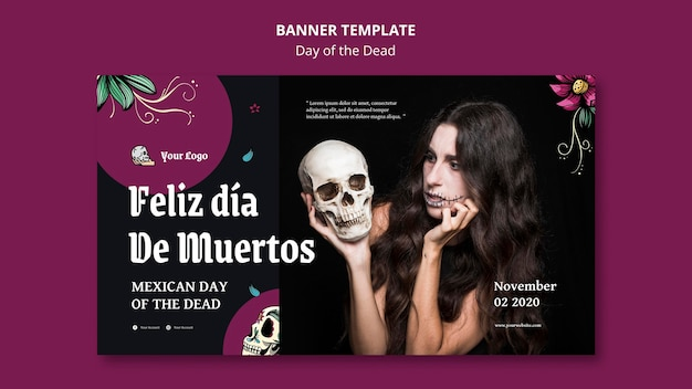 Banner do modelo do dia dos mortos