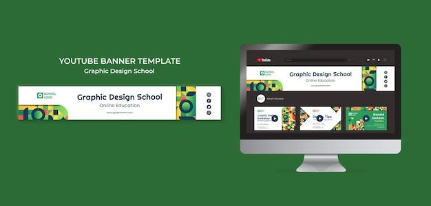 Banner do youtube da escola de design gráfico