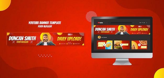 Banner do youtube de vlogger de comida