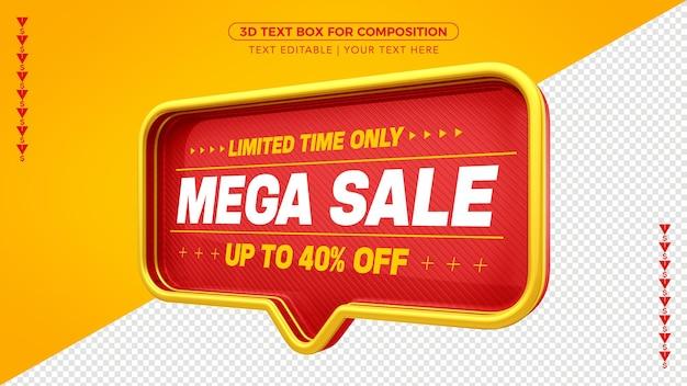 Banner e caixa de texto vermelha à venda com texto editável