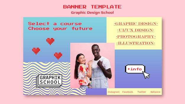 Banner escolar de design gráfico