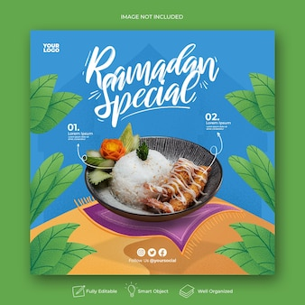 Banner especial de mídia social do instagram do menu do ramadã