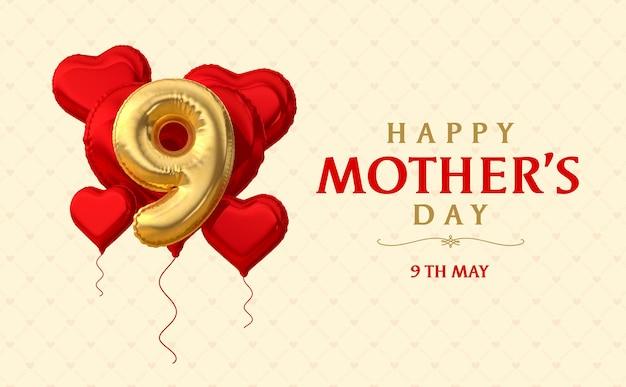 Banner feliz dia das mães balão 3d render