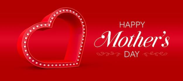 Banner feliz dia das mães com renderização 3d de corações e luzes