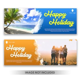 Banner feliz diversão férias