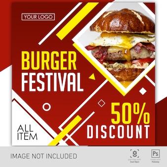 Banner festival de hambúrguer de comida