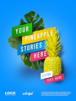 Banner flutuante de publicidade de abacaxi
