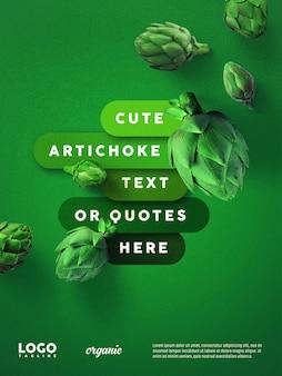 Banner flutuante de publicidade de alcachofra verde