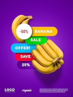Banner flutuante de publicidade de banana