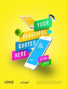 Banner flutuante de publicidade de smartphone