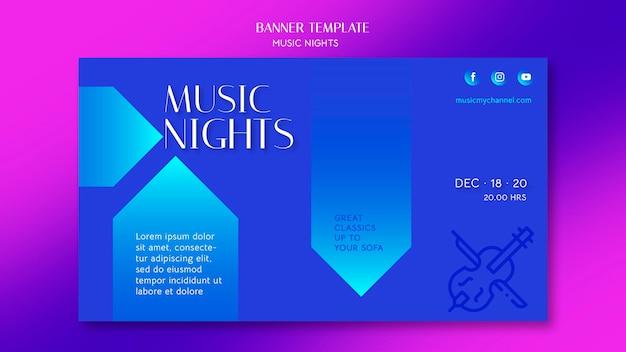 Banner gradiente para festival de noites de música