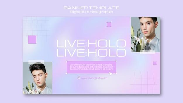 Banner holográfico de holo digitalismo ao vivo